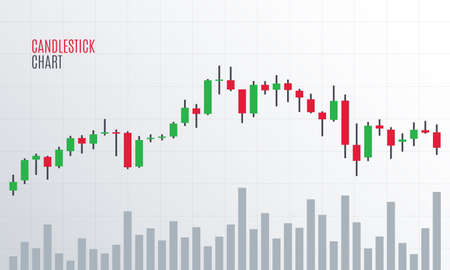 Finanzielle Candlestick-Chart. Kryptowährung Börse. Statistik Aufwärtstrend. Analytics-Datenbericht. Vektor-illustration