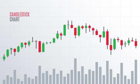 Gráfico de velas financieras. Mercado de bolsa de criptomonedas. Estadísticas de tendencia alcista. Informe de datos analíticos. Ilustración vectorial