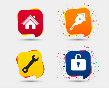 Home key icon. Wrench service tool symbol. Locker sign. Main page web navigation. Speech bubbles or chat symbols. Colored elements. Vector. Illustration
