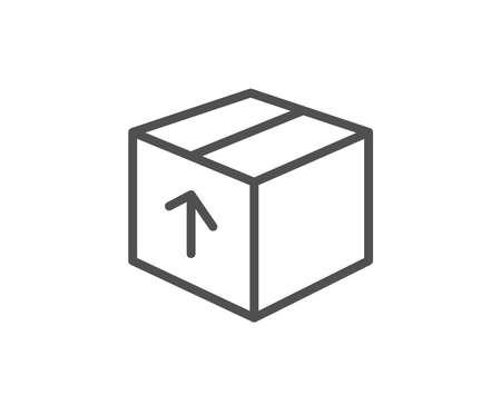 配送ボックスの行アイコン。物流出荷サイン。区画トラッキング シンボル。品質設計要素。編集可能なストローク。ベクトル。  イラスト・ベクター素材