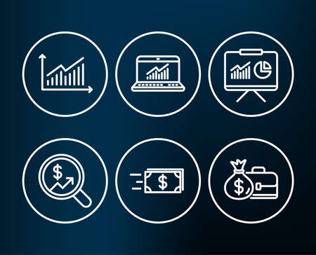 Set of Money transfer, Presentation and Graph icons. Online statistics, Currency audit and Salary signs. Cash delivery, Board with charts, Presentation diagram. Computer data, Money chart. Vector. Illustration