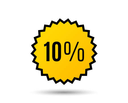 10% off Sale. Discount offer price sign. Special offer symbol. Star button. Graphic design element. Vector.