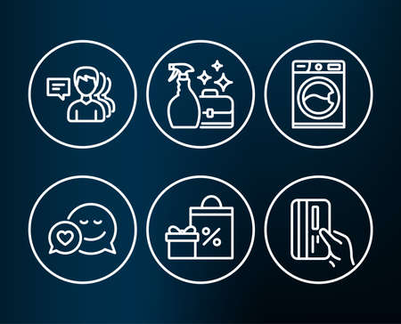 Set of Washing machine, Shopping and People icons.