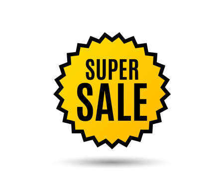 Super Sale. Special offer price sign. Advertising Discounts symbol. Star button. Graphic design element. Vector.