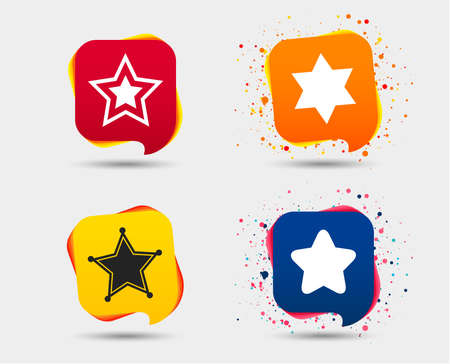 Star of David icons. Sheriff police sign. Symbol of Israel. Speech bubbles or chat symbols. Colored elements. Vector.