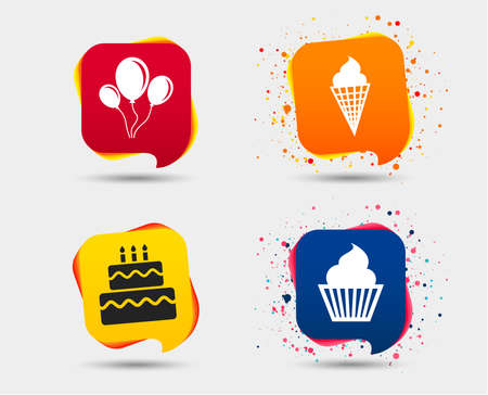 Birthday party icons. Cake with ice cream signs. Air balloons with rope symbol. Speech bubbles or chat symbols. Colored elements. Vector.