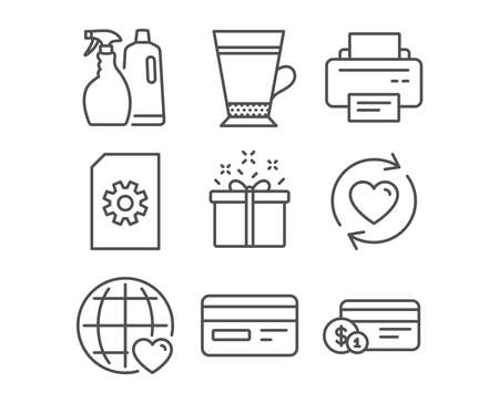 Set of Special offer, International love and Update relationships icons. Printer, Credit card and Shampoo and spray signs. Latte, File management and Payment method symbols. Vector.