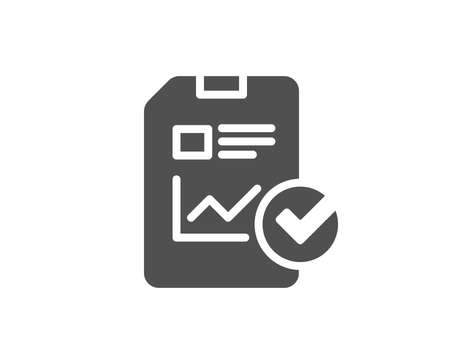 Report document simple icon. Analysis Chart or Sales growth report sign. Statistics data or Checklist symbol. Quality design elements. Classic style.