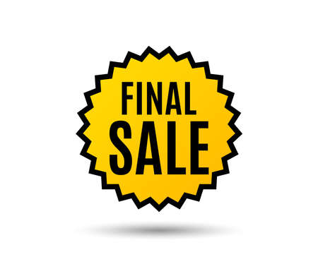 Final Sale. Special offer price sign. Advertising Discounts symbol. Star button. Graphic design element. Ilustrace