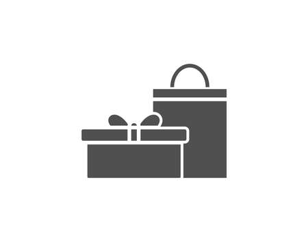 Gift box with bag simple icon. Present or Sale sign. Birthday Shopping symbol. Package in Gift Wrap. Quality design elements. Classic style.