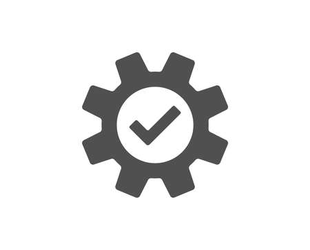 Cogwheel simple icon. Approved Service sign. Transmission Rotation Mechanism symbol. Quality design elements. Classic style. Vector.