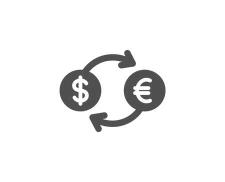 Money exchange simple icon. Banking currency sign. Euro and Dollar Cash transfer symbol. Quality design elements. Classic style. 向量圖像