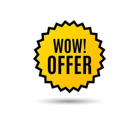 Wow offer. Special Sale price sign. Advertising Discounts symbol. Star button. Graphic design element. Vector.
