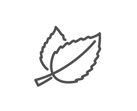 Mint leaves line icon. Herbal leaf sign. Tea with Mentha symbol. Quality design element. Editable stroke. Vector.
