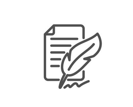 Feather signature line icon. Copywriting sign. Feedback symbol. Quality design element. Editable stroke. Vector. Illustration