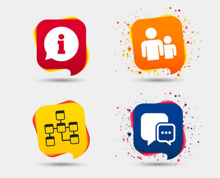 Information sign. Group of people and database symbols. Chat speech bubbles sign. Communication icons. Speech bubbles or chat symbols. Colored elements. Stock Vector - 95952959