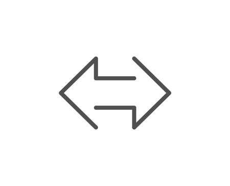 Sync arrows line icon. Communication Arrowheads symbol. Navigation pointer sign. Quality design element. Editable stroke.