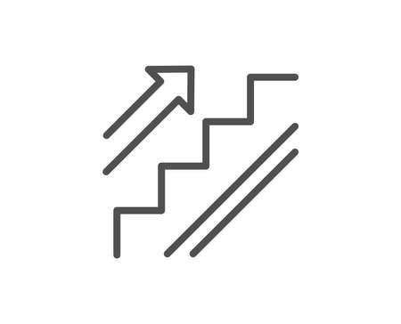 Stairs line icon. Shopping stairway sign. Entrance or Exit symbol. Quality design element. Editable stroke.