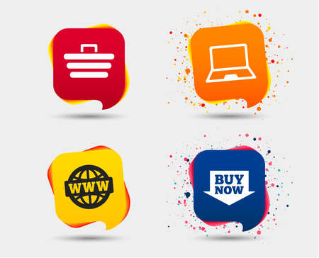 Online shopping icons. Notebook pc, shopping cart, buy now arrow and internet signs. WWW globe symbol. Speech bubbles or chat symbols. Colored elements. Vector.