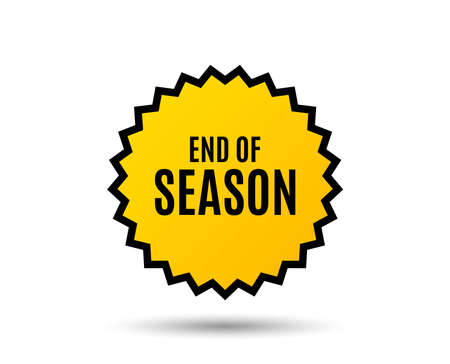 End of Season Sale. Special offer price sign. Advertising Discounts symbol. Star button. Graphic design element.
