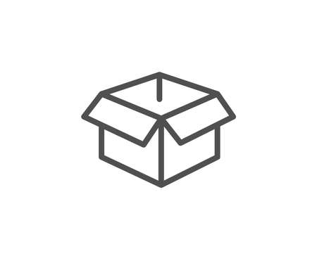 Opened box line icon. Logistics delivery sign. Parcels tracking symbol. Quality design element. Editable stroke. Illusztráció