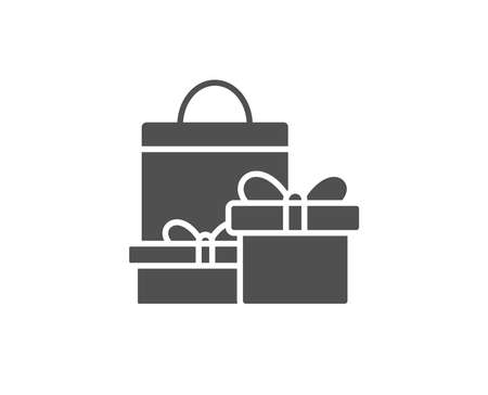 Gift boxes with bag simple icon. Present or Sale sign. Birthday Shopping symbol. Package in Gift Wrap. Quality design elements. Classic style. Vector.