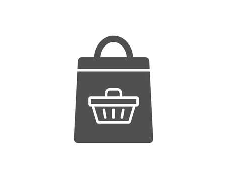 Shopping bag with cart simple icon. Supermarket buying sign. Sale symbol. Quality design elements. Classic style.