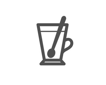 Cup with spoon simple icon. Fresh beverage sign. Latte or Coffee symbol. Quality design elements. Classic style. 向量圖像