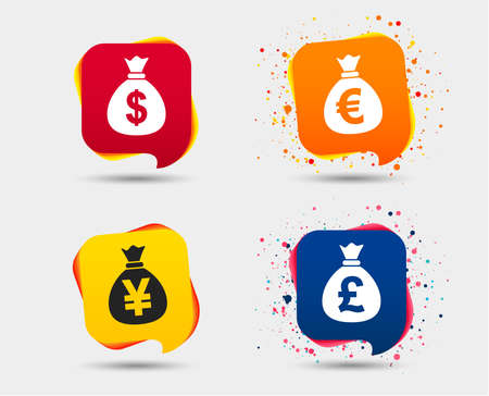 Money bag icons. Dollar, Euro, Pound and Yen symbols. USD, EUR, GBP and JPY currency signs. Speech bubbles or chat symbols. Colored elements. Vector.