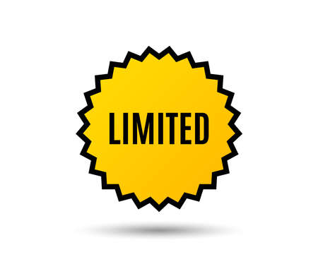 Limited symbol. Special offer sign. Sale. Star button. Graphic design element. Vector.