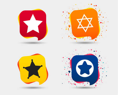 Star of David icons. Sheriff police sign. Symbol of Israel. Speech bubbles or chat symbols. Colored elements. Vector. Imagens - 95842600