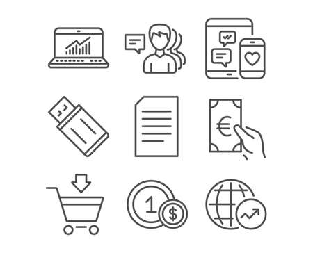 Set of Document, Online statistics and Finance icons. People, Usd coins and Online market signs. Usb flash, Social media and World statistics symbols. Information file. Computer data. Eur cash