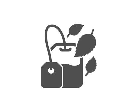 Mint Tea bag simple icon. Fresh herbal beverage sign. Methane leaves symbol. Quality design elements. Classic style.
