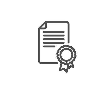 Certificate Medal line icon. Diploma achievement symbol. Document with approved badge sign. Quality design element. Editable stroke.