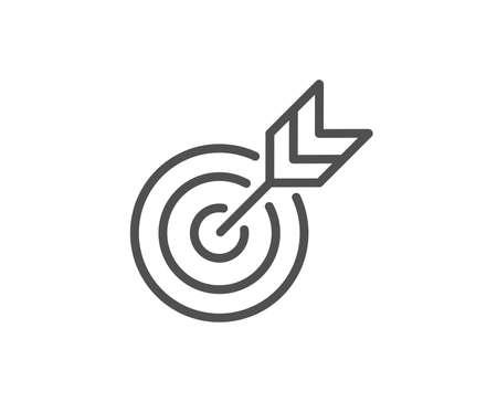 Ikona linii docelowej. Symbol strategii kierowania marketingowego. Cel ze znakiem strzałek. Element projektu jakości. Obrys edytowalny. Wektor