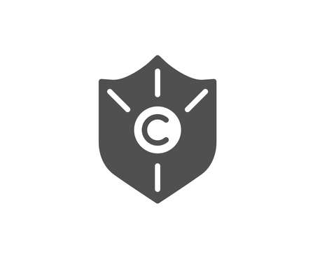 Ð¡opyright protection simple icon. Copywriting sign. Shield symbol. Quality design elements. Classic style. Vector Ilustracja