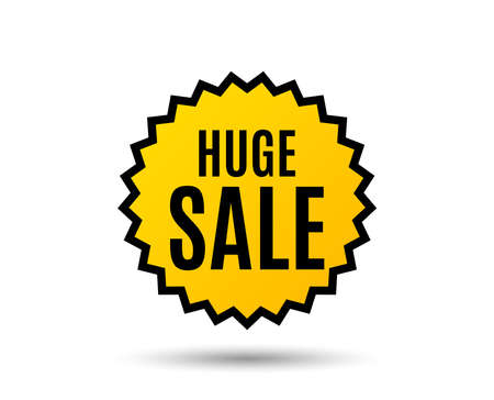 Huge Sale. Special offer price sign. Advertising Discounts symbol. Star button. Graphic design element. Vector Illustration