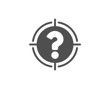 Target with Question mark simple icon. Aim symbol. Help or FAQ sign. Quality design elements. Classic style Vector