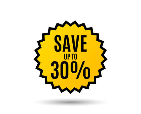 Save up to 30%. Discount Sale offer price sign. Special offer symbol. Star button. Graphic design element Vector Standard-Bild - 95992698