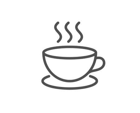 コーヒードリンクラインアイコン。ホットカップサイン。新鮮な飲料のシンボル。品質設計要素。編集可能なストローク ベクトル