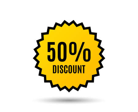50% Discount. Sale offer price sign. Иллюстрация