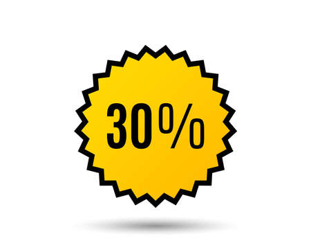 30% off Sale. Discount offer price sign. Special offer symbol. Star button. Graphic design element. Vector