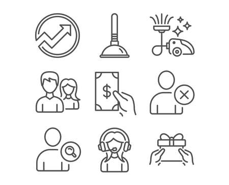Set of Plunger, Delete user and Vacuum cleaner icons. Receive money, Audit and Support signs. Stock Illustratie