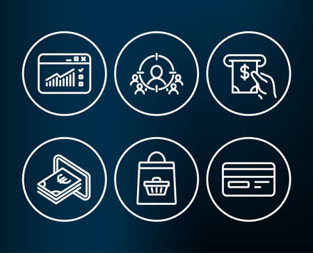 Set of Online buying, Cash and Web traffic icons. Atm service, Business targeting and Credit card signs. Shopping cart, Atm payment, Website window. Vector Illustration