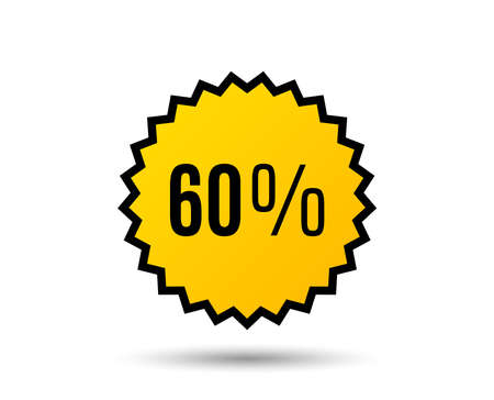 60% off Sale. Discount offer price sign. Special offer symbol. Star button. Graphic design element. Vector