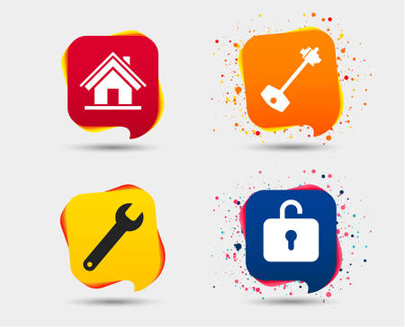 Vector icon set of Home key icon, Wrench service tool symbol, Locker sign, Main page web navigation.