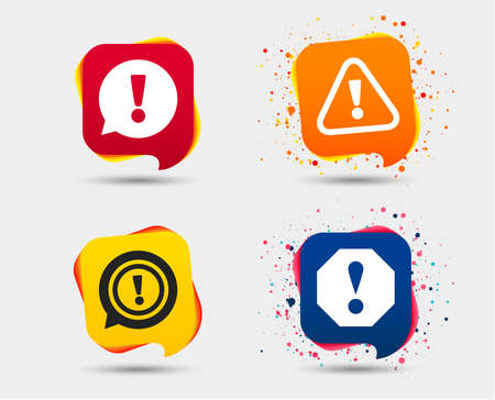 Attention icons Exclamation speech bubble symbols. Illustration