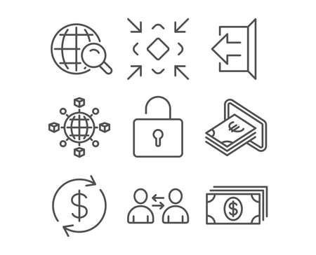 Set of Communication, Minimize and Cash icons.