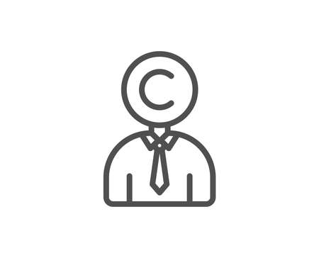 �¡copyright line icon Writer person sign.  Quality design element. Stock Illustratie