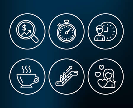 Set of Currency audit, Escalator and Working hours icons. Coffee, Timer and Love signs. Money chart, Elevator, Project deadline. Cappuccino, Stopwatch gadget, Woman in love.  Editable stroke. Vector